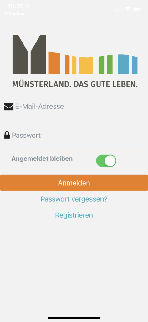 App-Screenshot Bürgerlabor Münsterland Login