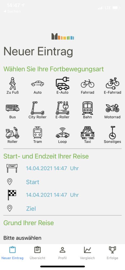App-Screenshot Bürgerlabor Münsterland Neuer Eintrag